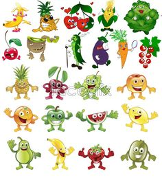 Free download Fruits and vegetables, cartoon vector. File include vegetable cartoon, cartoon fruit, banana, pineapple, cherries, kiwifruit, corn, cabbage, eggpl