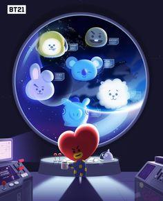 "171019 BT21′s Tweet ""with ☕️ #BT21 #우주스타 #유니버스타 #UNIVERSTAR #TATA #RJ #COOKY #SHOOKY #MANG #KOYA #CHIMMY #VAN #CreatedbyBTS """