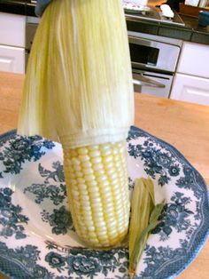 Corn on the Cob:  How to Cook Whole Ears in the Microwave and Then Get the Leaves and Silk Off Cleanly In A Few Tugs  (JLG tried it and it looks JUST like above as long as you cut the cob's end off far enough)