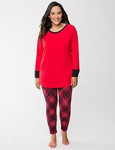 Cozy 2-piece sleep set lets you get your beauty rest in soft plaid leggings and a coordinating top trimmed with banded cuffs and a scoop neckline. 100% cotton Jersey knit outfits your nights in complete comfort.  lanebryant.com