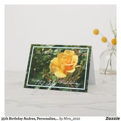 Shop Wedding Anniversary Wishes Yellow Rose Elegant Card created by Personalize it with photos & text or purchase as is! 1st Wedding Anniversary Wishes, Happy Anniversary Cards, Anniversary Flowers, Happy 35th Birthday, 30th Birthday Cards, Yellow Roses, Elegant, 35th Birthday, Wedding Day Wishes