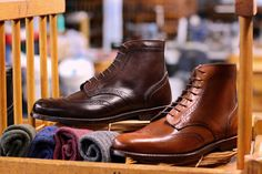 The blake wingtip boot in Dark Brown and Tan Mimosa calf.