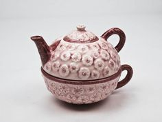 Tea for One Teapot Tea Cup Set Glazed Pottery in Mauve and Burgundy Floral Pattern by OlliesFineThings on Etsy https://www.etsy.com/listing/215472468/tea-for-one-teapot-tea-cup-set-glazed