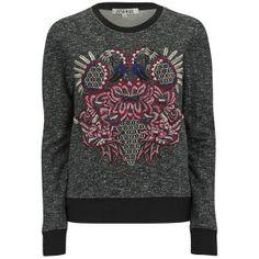 AnhHa Women's Embroidered Flamingo Sweatshirt - Textured/Black: Image 1