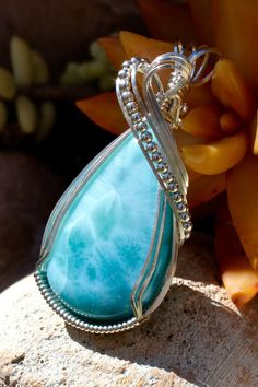 15 Super Ideas For Jewerly Diy Wire Sterling Silver Wire Pendant, Wire Wrapped Pendant, Wire Wrapped Jewelry, Pendant Jewelry, Jewelry Art, Beaded Jewelry, Handmade Jewelry, Larimar Jewelry, Jewlery