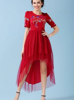 4ff154521be Free Shipping Party Queen Hot Sale Fashion Round Collar Flower Embroidery  Short Sleeve Irregular Gauze Long Dress Red -in Dresses from Women s  Clothing ...