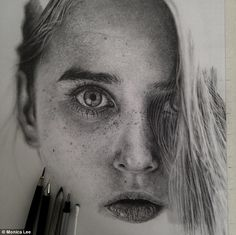 Searing: Ms Lee, who is Malaysian, draws her images from photographs, and says she wanted to capture the 'intensity of her gaze' for this portrait