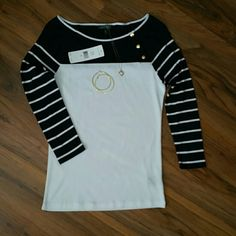 *On Sale* NWT Ralph Lauren Top Nautical look Ralph Lauren top bought brand new & never worn. Has blue & white stripes on sleeves with gold buttons on front as shown in picture. Ralph Lauren Tops Tees - Long Sleeve