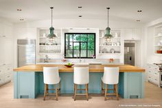 W. Creekside Residence -- shelving, island in color with all other cabinetry in white