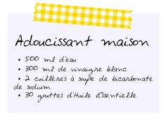 recette adoucissant maison ingédients Diy Cleaning Products, Cleaning Hacks, I Want Peace, I Can Do It, Green Life, Better Life, Clean House, Diy For Kids, Helpful Hints