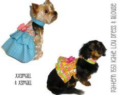 Kati Lou Dog Dress and Dog Blouse Pattern 1551 * XXSmall & XSmall * Dog Clothes Sewing Pattern * Dog Harness Dress * Dog Apparel * Dog Shirt