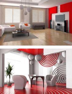 Modern white red living room