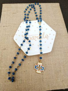 Blue cross crystal necklace beaded rosary religious modern gift Greek women's jewelry faith gifts protection jewelry lariat necklace for her Greek Jewelry, Women's Jewelry, Photo Jewelry, Modern Jewelry, Lariat Necklace, Crystal Necklace, Goddaughter Gifts, Greek Gifts, Best Dad Gifts