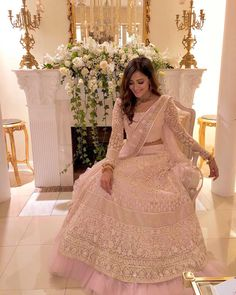 wore this stunning pink lehenga with the right touch of at her - now isn't that just perfect? Indian Bridal Outfits, Pakistani Wedding Outfits, Pakistani Dresses, Indian Dresses, Indian Clothes, Pink Lehenga, Floral Lehenga, Lengha Choli, Indian Lehenga