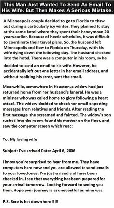 This Man Just Wanted To Send An Email To His Wife But Then Makes A Serious Mistake funny quotes quote jokes story lol funny quote funny quotes funny sayings joke humor stories Jokes Quotes, Funny Quotes, Funny Memes, Men Quotes, Haha Funny, Hilarious, Funny Stuff, Joke Stories, Happy Stories
