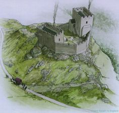 Dolwyddelan Castle A reconstruction of Dolwyddelan Castle as it may have looked in the later thirteenth century. The crenellations on both towers and the curtain wall are shown equipped with arrowslits (Illustration by Chris Jones-Jenkins 1994)