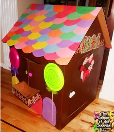 How to make a gingerbread playhouse! The instructions for a life-size ginger bread play house from a card board box - it's very easy to make!