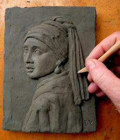 la ragazza con l'orecchino di perla copia in scultura