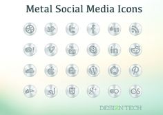 A set of the high quality, polished social media icon set with PSD file. There are 24 scalable vector metal icons included in the set.Ã'Â The icon set is - posted under by Fribly Editorial Web Design, Tool Design, Mobile App Icon, Online Labels, Best Icons, Social Media Icons, Psd Templates, User Interface