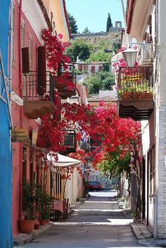 Picturesque alleys in Nafplio , Greece