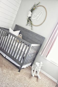 baby girl's farmhouse nursery with shiplap, white, gray and blush. handmade hula hoop wreath baby girl's farmhouse nursery with shiplap, white, gray and blush. Handgemachtes Baby, Baby Sleep, Baby Love, Baby Kids, Baby Bedroom, Baby Room Decor, Nursery Room, Nursery Layout, Nursery Gray