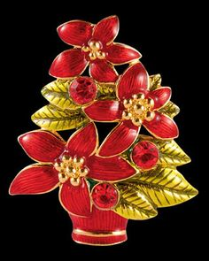Radko Poinsettia Trio Tree Christmas Brooch Jeweled Pin New in Box