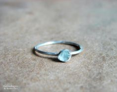 Rough Aquamarine Ring March Birthday Jewelry for Her by Gemologies