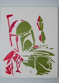 boba fett art- star wars stencil painting, spray paint from handmade stencil. 16x20 | home sweet