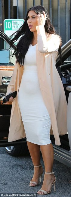 Mom-to-be: The pregnant star has been keeping busy, and was seen heading to a meeting in the Van Nuys area in LA