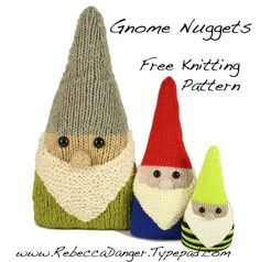 Ravelry: Gnome Nuggets free pattern by Rebecca Danger Knitting For Kids, Loom Knitting, Knitting Patterns Free, Free Knitting, Crochet Patterns, Free Pattern, Free Christmas Knitting Patterns, Knitting Sweaters, Yarn Projects
