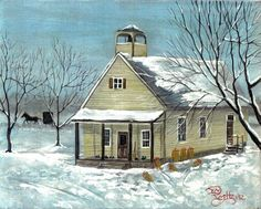 AMISH SCHOOL HOUSE  8x10 landscape country art print Jim Smeltz w/ ACEO  #Impressionism