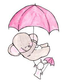 Pink umbrella elephant & bunny