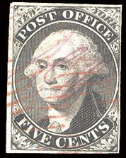 United States Postmasters' Provisionals — New York. 1845 5c black, signed ACM connected, pos.25