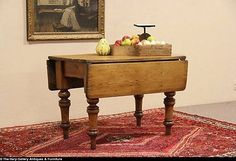 English Country Pine 1860 Antique Dropleaf Breakfast Dining Table
