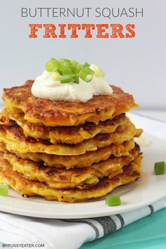 These Butternut Squash Fritters make a delicious and comforting lunch or dinner the whole family will love. They're also a brilliant way to get some veggies into your picky eaters! Pumpkin Fritters, Squash Fritters, Veggie Fritters, Fussy Eaters, Picky Eaters, Tasty Vegetarian, Baby Food Recipes, Cooking Recipes, Toddler Recipes