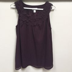 LOFT top EUC purple blouse with cute circle ruffle detail at neckline (continues on back). Freshly dry cleaned! No spots, rips, or snags. 100% polyester. LOFT Tops Blouses