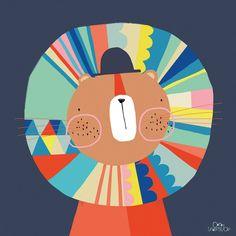 Le tableau Lenny le lion by Carly Gledhill pour Lilipinso aux couleurs vives…