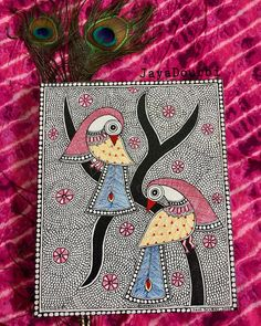 40 Simple And Easy Gond Painting Designs For Art Lovers - Free Jupiter Madhubani Paintings Peacock, Madhubani Art, Indian Art Paintings, Worli Painting, Fabric Painting, Indian Folk Art, Traditional Paintings, Mural Art, Tribal Art