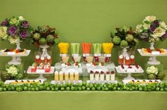 Veggie (and veggie shake) table.... a must. Healthy foods you should be eating!
