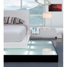 Galaxy Bed with Walk-On Light Platform with 2 Drawer Nightstands, and Base Under Nightstand