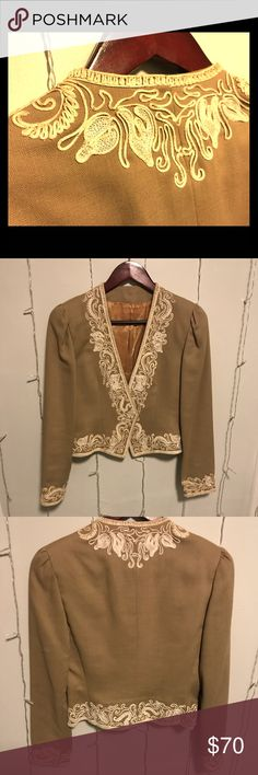 Vintage Matador Jacket Striking custom made, fitted matador style jacket with satin lining. Stunning cream detailing on collar and sleeves. Double hook and eye closure. Jackets & Coats Blazers