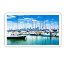 View to the Melbourne CBD across Hobsons Bay from Williamstown Sticker
