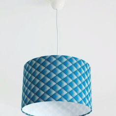 Lustre suspension plafonnier abat jour cylindrique 35 cm motif art