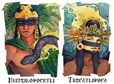 I have a lot on my plate right now, but here's two of the more important Aztec gods in my godling story, Huitzilopochtli and Tezcatlipoca. (Say: hweet' zillo POEsht lee and: tez kat lih P...
