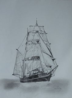 Tres Hombres, cutter from Sierra Leone. Graphite drang by Elena Whitman