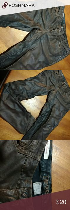 Brown take leather skinny jeans  size 7 Super skinny dark brown fake leather pants.  Very soft, only worn once. Decree Pants Skinny