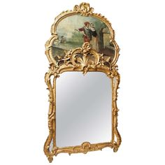 19th Century Louis XV Trumeau Mirror   From a unique collection of antique and modern trumeau mirrors at https://www.1stdibs.com/furniture/mirrors/trumeau-mirrors/