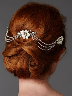 Silver Floral Triple Bridal Comb with Crystal Swags - Affordable Elegance Bridal -