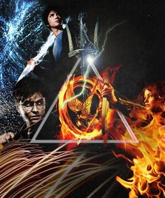 Harry Potter, Percy Jackson and Hunger Games <3--Deathly Hallows, Poseidon's Trident and the Mockingjay Pin