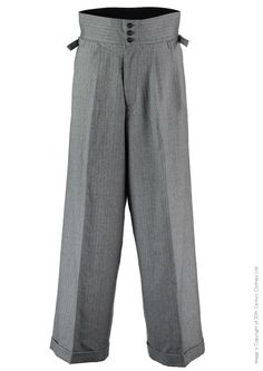 1930s Mens High Waisted Pants, Wide Leg Trousers The Ritz Oxford Bags - Grey Herringbone £125.00 AT vintagedancer.com
